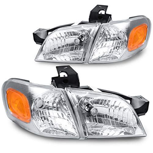 Chevy Venture Headlight - For 1997-2005 Chevy Venture Headlight Replacement Chrome Housing with Amber Reflector + Corner Lights (Driver and Passenger Sides)