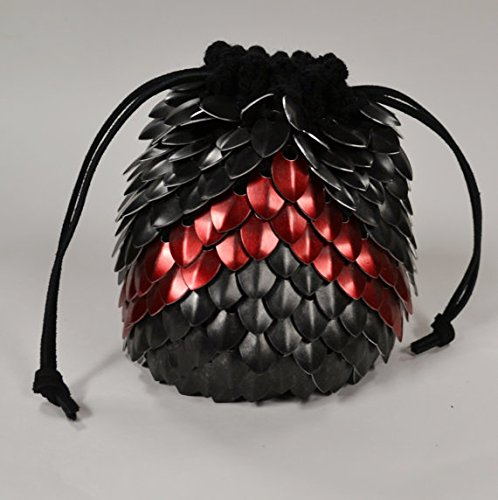 Dice Bag of Holding in knitted Dragonhide Armor- Red Chevron
