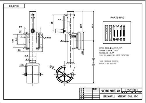Jeremywell Swivel Trailer Jack Double Wheel 2000 lb Tongue Twin Boat Towing 26'' Length Lift by Jeremywell (Image #5)