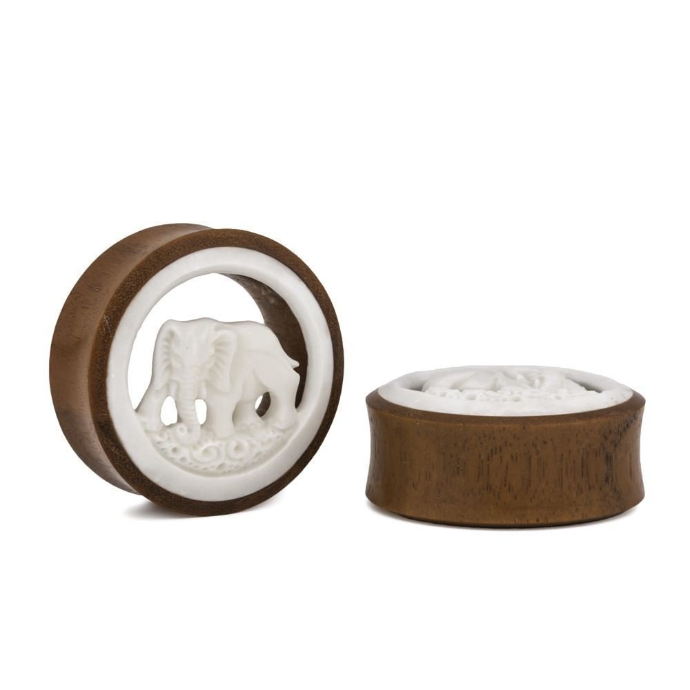 Price Per 1 Carved Bone Elephant Strength Chang Wood Tunnel 20mm-38mm