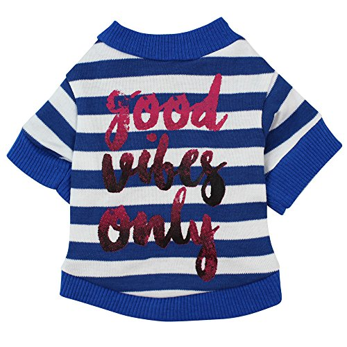 WEUIE Big Promotion! Puppy Clothes Dog Clothing Cotton Stripe T-Shirt Puppy Costume For Small Dog (L, Blue)