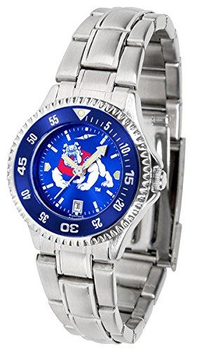 State Fresno Wrist Watch - Fresno State Bulldogs Competitor Steel AnoChrome Women's Watch - Color Bezel
