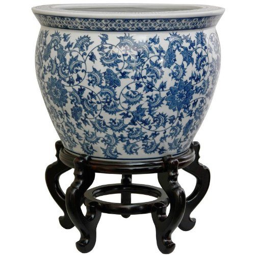 Image of Oriental Furniture 16' Floral Blue & White Porcelain Fishbowl Home and Kitchen