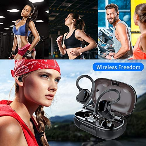 Wireless Earbuds Sports, in-Ear Bluetooth 5.0 Headphones IP7 Waterproof 100H Playtime TWS Earhooks Headset Stereo CVC8.0 Noise Cancelling Wireless Earphone with Charging Case for Workout Running Gym