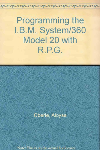 Programming the I.B.M. System/360 Model 20 with R.P.G.