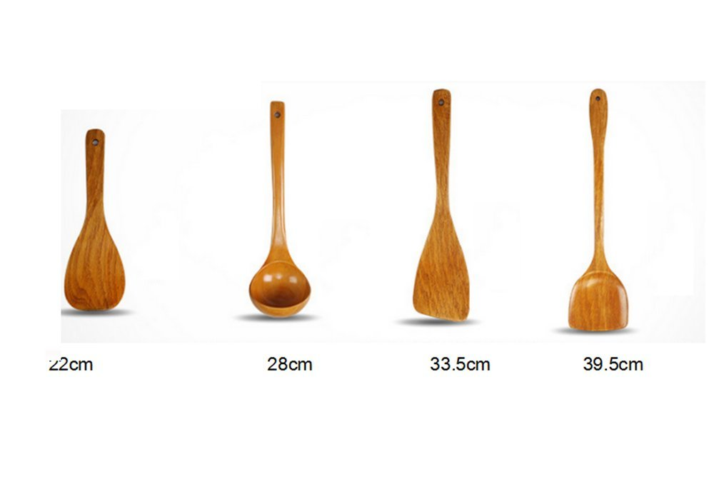 Jhion Premium Organic Kitchen Cooking Utensils Wooden Spoon Spatula Bamboo Kitchen Tools, Set of 4 Bamboo Kitchen Tools Set of 4