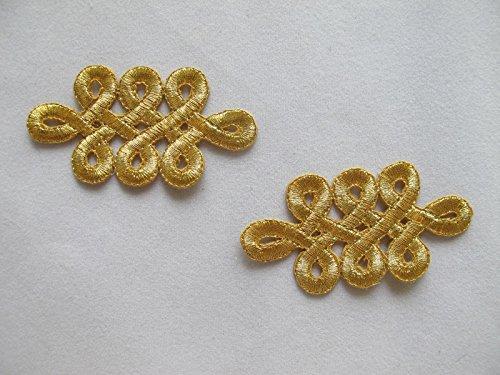 Lot 2 Pcs Gold Trim Fringe Boho Art Deco Sew Embellishment Applique Patch by ade_patch