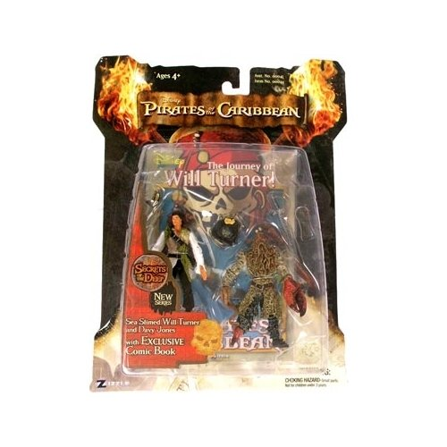 Zizzle Pirates of the Caribbean Dead Man's Chest 3 3/4 Inch Action Figure Series 3 Deluxe Sea Slimed Will Turner & Davy -