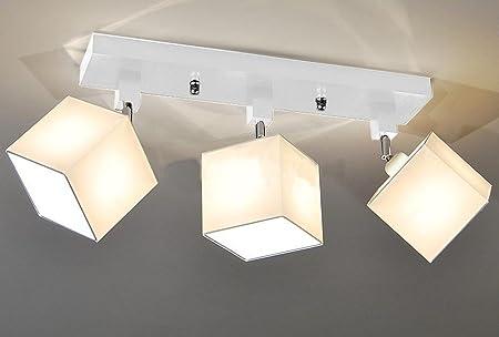 Designer Decken Leuchte Lampe Retro Spot Strahler Salon Bar Theke E27 Power  LED Bern 16 (Sockelfarbe: Weiss)