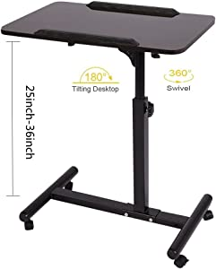 Qwork Overbed Table Laptop Desk Cart Hospital Bed Desk Swivel Table Mobile Height and Angel Adjustable 360° and 180° Tilt Spliting Laptop Table (Black Walnut)