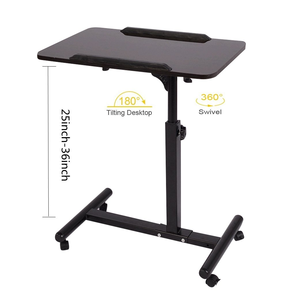 Qwork Mobile Laptop Desk Cart Projector Stand Overbed Table Height and Angel Adjustable 360° Swivel and 180° Tilt Spliting Laptop Stand Table Hospital Bed Desk (Black Walnut)