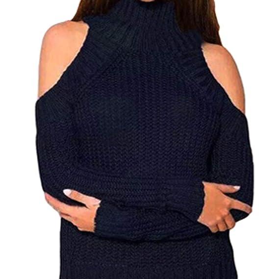 Blusa sin Tirantes de Mujer, suéter de Cuello Alto de Punto de Manga