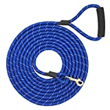 Shorven Nylon Strong Dog Rope Lead Reflective Training Dog Leash with Soft Handle 8-20 FT Long Blue (Dia:0.5' 10FT)