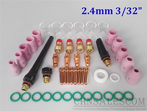 CHNsalescom 49 pcs TIG Welding Stubby Gas Len Pyrex Glass Cup Kit Tig WP17/18/26 Torch 3/32' 2.4mm