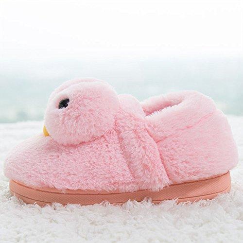 Eastlion Damen Winter Home Innenbereich Warm Halten Draussen Lovely Gelbe Ente Plüsch Hausschuhe Schuhe Lila Schuhe
