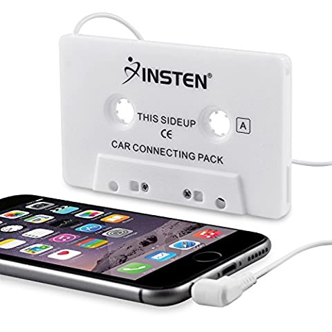 Insten Car Cassette Tape Deck Adapter Compatible with 3.5mm Jack Audio MP3/CD Player (Bluetooth Aux Adapter Beats)