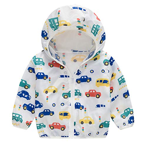 Babys Summer Sunscreen Jackets Toddler Boys Girls Cute Printed Hooded Zipper Coats Pullover Casual Top T-Shirts Blouse Yellow