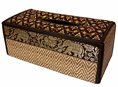 CCcollections Tissue Box A Cover case Sheath Natural Reed Wicker ECO Sustainable Material Plush Silk Trim Elephant Side (B Brown) (Wood Thai Gift Box)