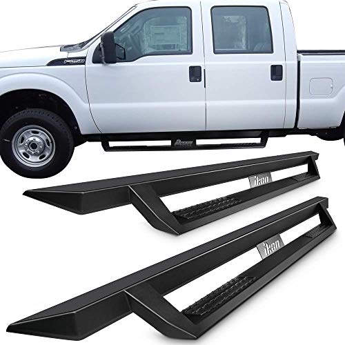 Running Boards Fits 1999-2016 Ford F250 Superduty Crew Cab | IKON V1 Style Black Steel Side Step Bar Nerf Bar by IKON MOTORSPORTS