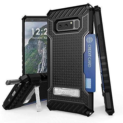 (Military Grade Rugged Shockproof Hybrid Cover Dual Layer Case w/Stand+Card Slot+Screen Protector for Samsung Galaxy Note 8 - Black/Black)
