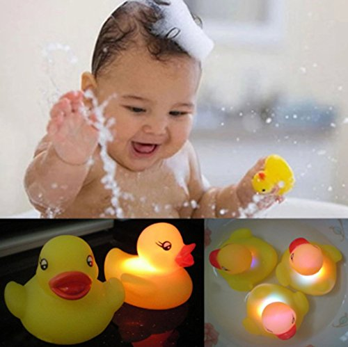 yellow ducks light up bath toys flashing light 3 pack baby shower tub toys color changing in. Black Bedroom Furniture Sets. Home Design Ideas
