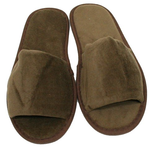 Terry Velour Open Toe Slippers Cloth Spa Hotel Unisex Slippers for Women and Men - Terry Chocolate Cloth