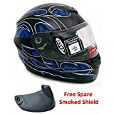 Motorcycle Full Face Helmet DOT Street Legal +2 Visors Comes with Clear Shield and Free Smoked Shield - Tribal Blue (Medium)