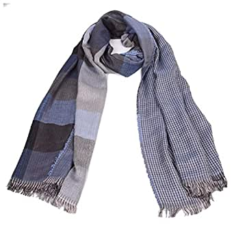 Howely Mens Plaid Tassel Fall Winter Scarves Knit Warm Super Soft Scarf Blue One Size