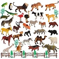 kidzbell YIJUN Mini Jungle Realistic Wild Plastic Animal Figure Toys with Artificial Grass and Fencing Play Set for Boys and Girls -30 Pieces