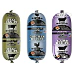 REDBARN Naturals Premium Dog Food Roll Variety Bundle – 3 Flavors (Lamb, Beef, and Chicken) 3 (Rolls Total)
