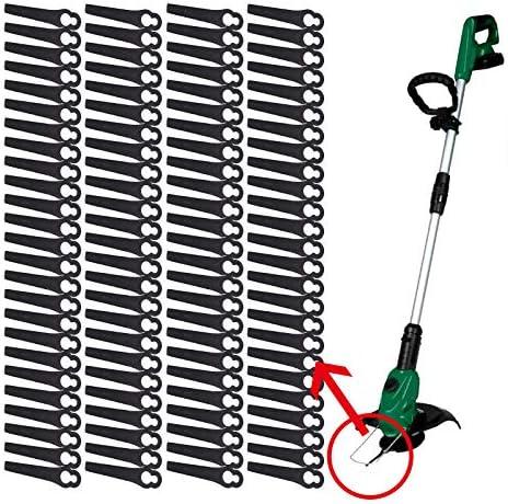 color negro cuchillas de repuesto de pl/ástico para cortac/ésped Einhell con bater/ía 100 cuchillas de pl/ástico para desbrozadora el/éctrica