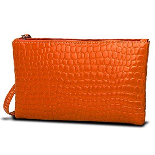 HuntGold 1 X Frauen Tragbare Alligator Textur Wallet Reißverschluss Handtasche Handtasche Geldbörse (orange)