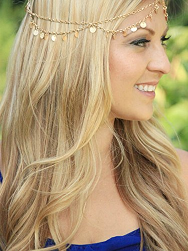 Yean Alloy Gold Headband Jewelry with Sequins, Hair Band Head Chain Head Piece for Women and Girls
