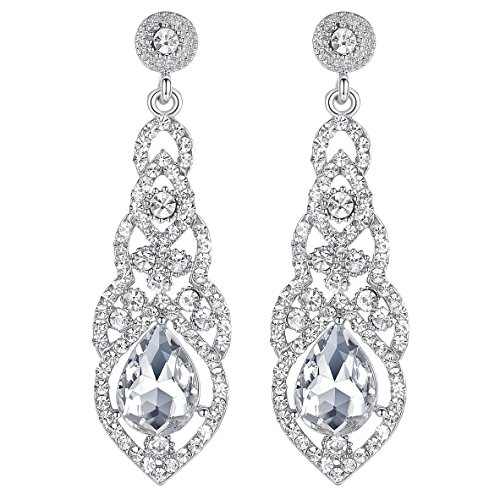 mecresh Clear Crystal Unique Design Teardrop Dangle Earrings for Bridemaid or (Clear Crystal Flower Earrings)
