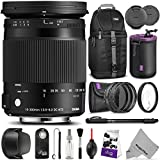 Sigma 18-300mm F3.5-6.3 Contemporary DC Macro OS HSM Lens for CANON DSLR Cameras w Advanced Photo and Travel Bundle
