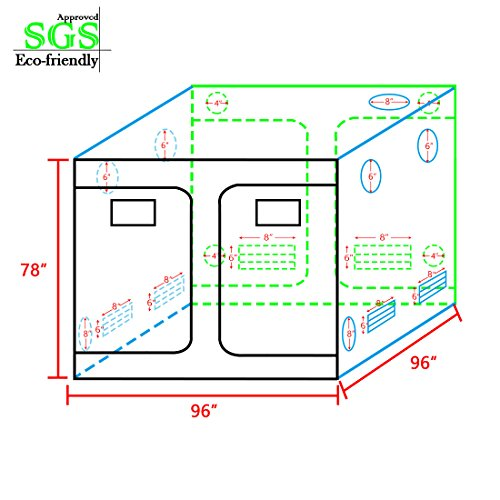 """51M ZUBtRwL - Quictent SGS Approved Eco-friendly 96""""x96""""x78"""" Reflective Mylar Hydroponic Grow Tent with Obeservation Window and waterproof Floor Tray for Indoor Plant Growing 8'x8'"""