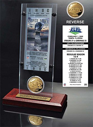 NFL Pittsburgh Steelers Super Bowl 43 Ticket & Game Coin Collection, 12'' x 2'' x 5'', Black by The Highland Mint