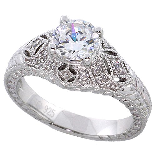 Sterling Silver Vintage Style Cubic Zirconia Engagement Ring Round 1 ct Center Domed, size 7
