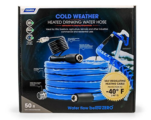 (Camco 50ft Cold Weather Heated Drinking Water Hose Can Withstand Temperatures Down to -40°F/C - Lead and BPA Free, Reinforced for Maximum Kink Resistance 5/8