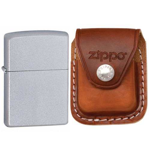 Zippo 205 Classic Satin Chrome Windproof Pocket Lighter with Zippo Brown Leather Clip Pouch (Brown Leather Lighter Pouch Zippo)