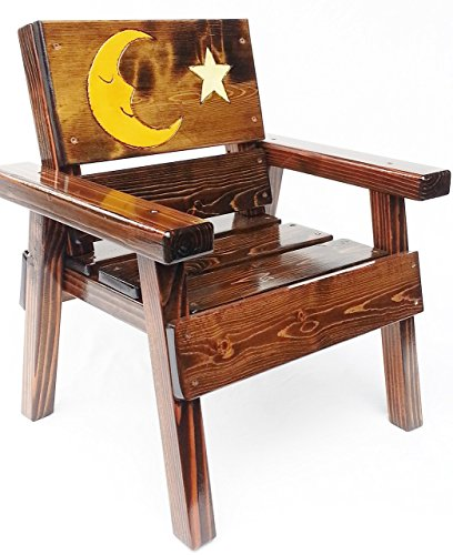 Kids Indoor / Outdoor Wooden Chair with Arms, Engraved and Painted Folk Art Moon