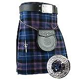Highland Kilt Various Tartan 8 Yards with Fly Plaid Stone Brooch,Kilt Pin,Belt Buckle,Leather Sporran,Belt (32'', Pride of Scotland)