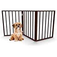 "PETMAKER Foldable, Free-Standing Wooden Pet Gate- Light Weight, Indoor Barrier for Small Dogs/Cats 24"", Dark Brown, Step Over Doorway Fence"