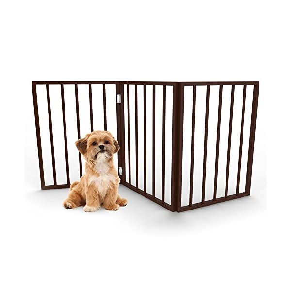 PETMAKER Foldable, Free-Standing Wooden Pet Gate- Light Weight, Indoor Barrier for Small Dogs/Cats 24″, Dark Brown, Step Over Doorway Fence