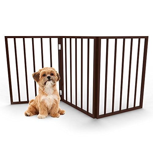 Foldable, Free-Standing Wooden Pet Gate- Light Weight, Indoor Barrier for Small Dogs / Cats by PETMAKER- 24 Inch, Dark Brown, Step Over Doorway Fence