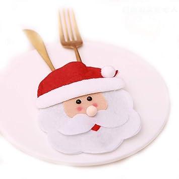 SMILINGGIRL Decoracion Navideña,Juegos De Cubiertos Creativas, Decoración De La Mesa Del Hotel, Muñeco De Nieve Viejo De Navidad Cuchillo Y Tenedor ...