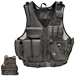 Tactical Crossdraw Vest w/Pistol Belt--BLACK