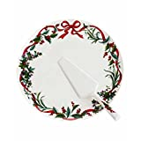 Martha Stewart Holiday Garden Christmas Cake Tray & Serving Knife Set
