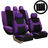 cloth car seat covers purple - FH Group FH-FB030115 Combo Light & Breezy Cloth Full Set Car Seat Covers (Airbag & Split Ready), Purple/Black - Fit Most Car, Truck, Suv, or Van