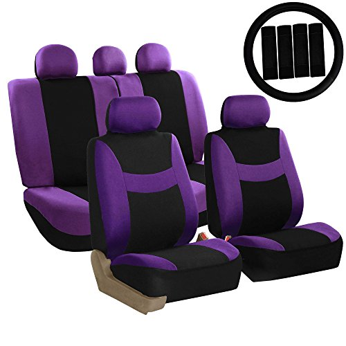 FH Group FH-FB030115 Combo Light & Breezy Cloth Full Set Car Seat Covers (Airbag & Split Ready), Purple/Black - Fit Most Car, Truck, Suv, or Van
